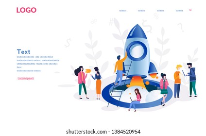 Business people launches rocket into the sky. Business growth. Business or IT startup, start up venture and entrepreneurship concept, vector illustration for web, presentation, banner, infographics.