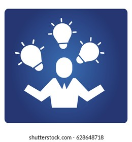 business people and light bulbs icon in blue background