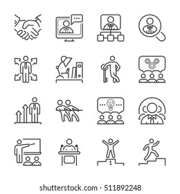 business people line icon set in black for business, office & human resources.