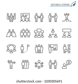 Business people line icons. Editable stroke. Pixel perfect.