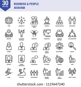 Business And People Line Icons With Keywords