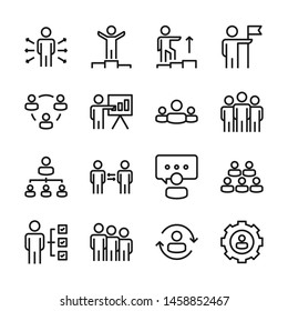 Business people line icons set vector illustration. Contains such icon as meeting, team, discussion, presentation and more. Editable stroke
