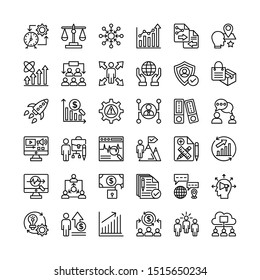 Business people line icons set. Contains such icon as meeting, team, discussion, presentation and more. Editable stroke