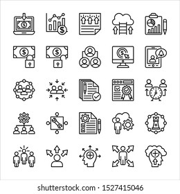 Business people line icons set vector illustration