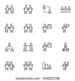 Business people line icons set, outline vector symbol collection, linear style pictogram pack. Signs logo illustration. Set includes icons as business communication, agreement handshake, collaboration