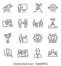 Business and people linear icons set. Work and success. Line with editable stroke
