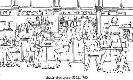 Business people at lunch break in cafe, talking and working with laptops. Doodle illustration