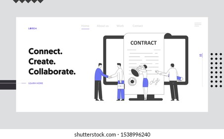 Business People Make Deal Agreement Website Landing Page. Characters Standing at Pc Screen Shaking Hands, Checking and Signing Contract Web Page Banner. Cartoon Flat Vector Illustration, Line Art