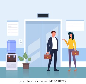 Business people man and woman character waiting elevator in business center hall company. Business life concept. Vector flat cartoon graphic design illustration