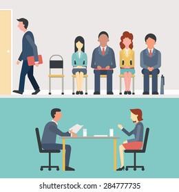 Hommes d'affaires, hommes et femmes assis et attendant l'entretien, concept de recrutement. Design plat.