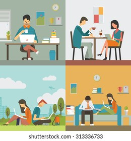 Business people, man and woman, working in various workplace, in office, restaurant or coffee shop, public park, and work at home. Flat design, diverse character.