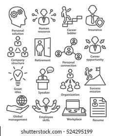Business people management icons in line style