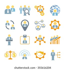 business people management icons, organization management icons