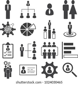 Business people management, Leader of organization icon set, Vector illustration EPS10.