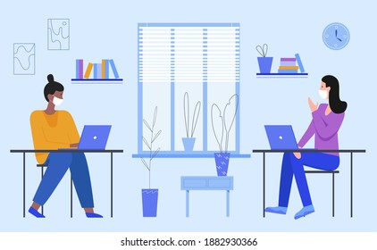 Business people with masks working vector illustration. Cartoon businesswoman characters sitting at desks with laptops and communicating, office workers wearing face medical masks isolated on white