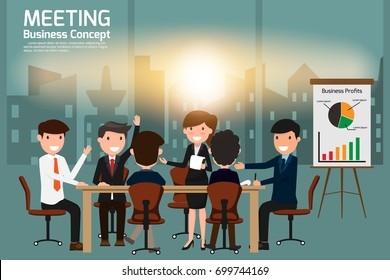 Business people meeting and brainstorming concept in office. vector illustration