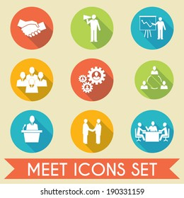 Business people meeting and collaborating strategic concepts pictograms icons set flat isolated vector illustration