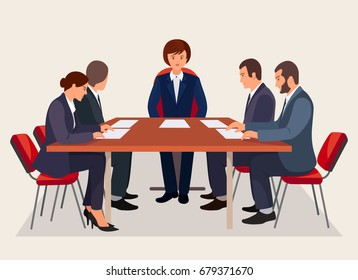 Business people meeting in conference room. Characters are sitting at table on chair. Woman boss isolated on background. Teamwork, conversation, negotiation concept. Vector illustration. Flat design