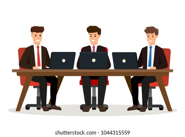 Business people meeting. Creative teamwork concept. Group characters in suits sitting behind desk. Vector illustration isolated on white background.