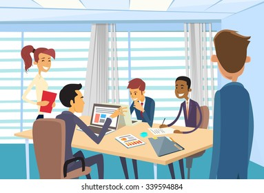Business People Meeting Discussing Office Desk Businesspeople Working Vector Illustration