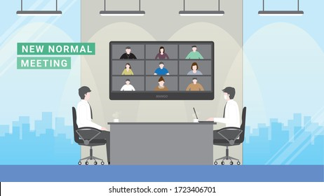 Business people meeting lifestyle after pandemic covid-19 corona virus. New normal is social distancing and video conference. Flat design style vector concept