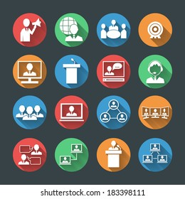 Business people meeting at office online conference presentation icons set isolated vector illustration