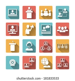 Business people meeting online and offline conference discussion and brainstorming icons set isolated vector illustration
