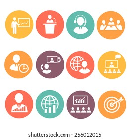 Business people meeting online and  offline strategic concepts icons set isolated vector illustration