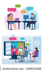 business people in meeting online reunion vector illustration design