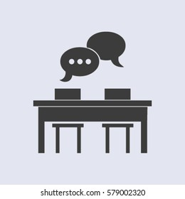 Business people meeting at the table - set of vector web icons