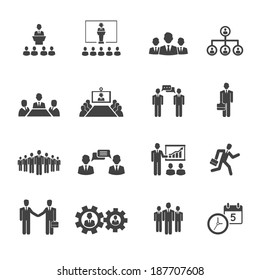 Business people meetings and conferences vector icons showing  training  presentations  conference table  leadership  teamwork  groups  discussion  brainstorming  handshake  deadline and schedule