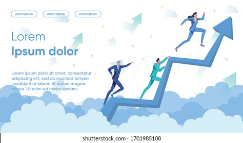 Business People, Men and Women Cartoon Characters on Rising Up Arrow. Successful Career Growth and Winning in Market Competition - Metaphor. Leadership and Self-development. Flat Vector Illustration.