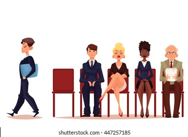 Business people, men and women sitting and waiting for interview, vector illustration isolated on white background. Set of cartoon businessmen and businesswomen waiting for job interview