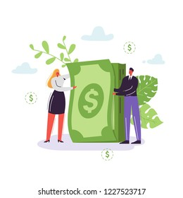 Business People with Money Stack. Rich Businessman and Businesswoman Characters. Financial Success, Profit, Salary, Income, Making Money Concept. Vector illustration