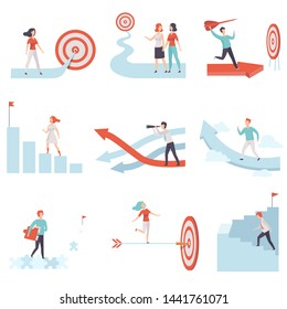 Business People Moving to Success Set, Men and Women Climbing Up Career Ladders and Growth Arrows to Achievement of Goals, Business and Career Development Vector Illustration