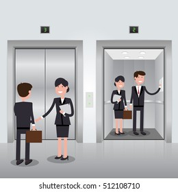 Business people in office building elevator, realistic chrome opened and closed doors. Vector illustration.