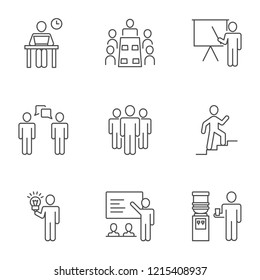 Business people, office day vector icons