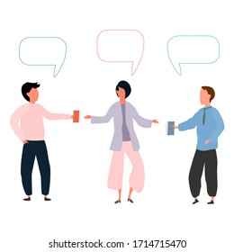 Business people in an office work environment. Isolated, flat vector trendy concepts. business meeting of employees. Partners Communication Illustrations