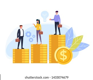 Business people office workers standing on different stack golden coins. Salary income difference concept. Vector flat cartoon graphic design isolated illustration