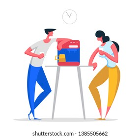 Business People on Coffee Break at Work. Man and Woman Characters Lunch Time. Employees Drinking Hot Drinks Having Break. Vector flat cartoon illustration