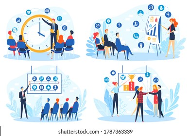Business people on meeting seminar, corporate coaching training vector illustration set. Cartoon flat businessman student team meets with trainer for presentation data on conference isolated on white