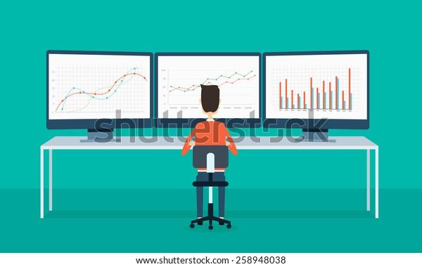 gente de negocios en el gráfico de informes de monitoreo y SEO en la web