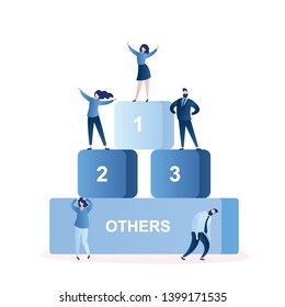Business people on podium,winners and losers,happy successful businesswoman on top,male and female characters,trendy style vector illustration