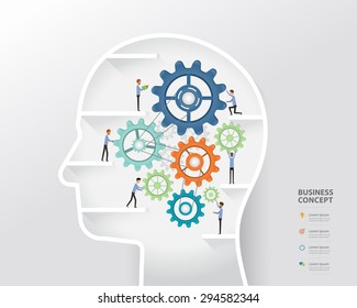 business people on process and business creative in human head concept.