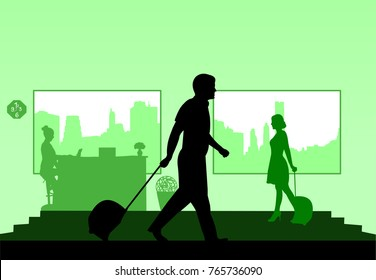 Business people on business travel in hotel and the receptionist at the hotel silhouette layered