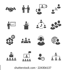 Business people online meeting strategic pictograms set of presentation online conference and teamwork isolated vector illustration