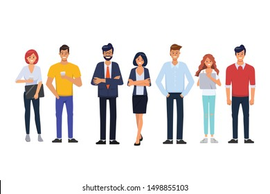 Business people in organization office with businessman and businesswoman and freelance job character.