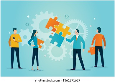 business people over puzzle pieces