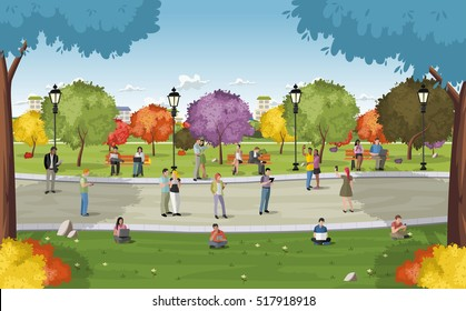 Business people in a park with smart phones and computers. Nature landscape.
