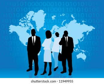 Business people part of technology world